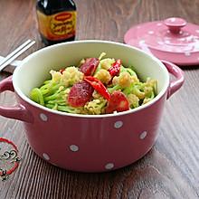 广式腊肠炒花菜#味极鲜味汁#