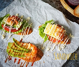 三种大虾法棍三明治的做法