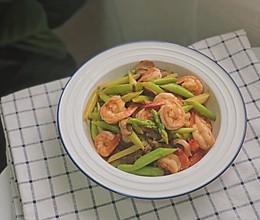 口蘑芦笋炒虾仁的做法