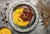 炖小牛膝肉配藏红花烩饭的做法