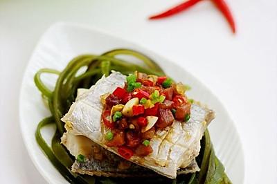 海带丝腊味蒸带鱼
