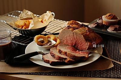 【7分熟烤牛肉。佐黑椒酱】预热圣诞节大餐