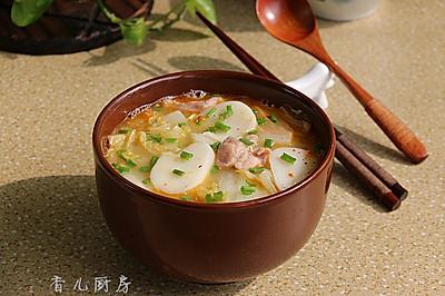白菜肉片汤年糕#急速早餐#