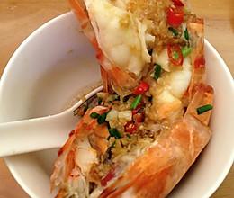 简单美味蒜蒸开边九节虾的做法