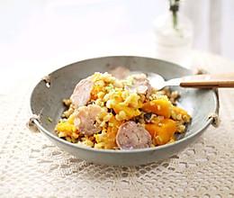#精品菜谱挑战赛#一键式,糙米南瓜腊肉饭的做法
