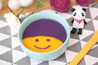 宝宝辅食拉菲开户  南瓜紫薯米糊