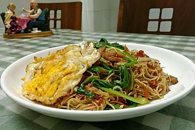 肉丝胡萝卜鸡蛋青菜炒面