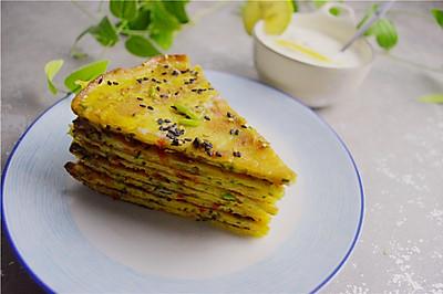 黄瓜菜椒鸡蛋饼,快手做早餐