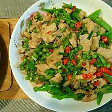 豆角肉片炒辣椒