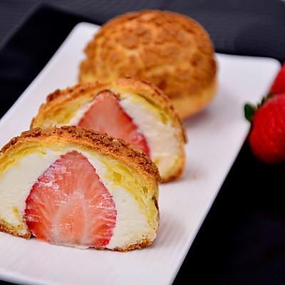 【草莓酥皮泡芙】——草莓季系列美食
