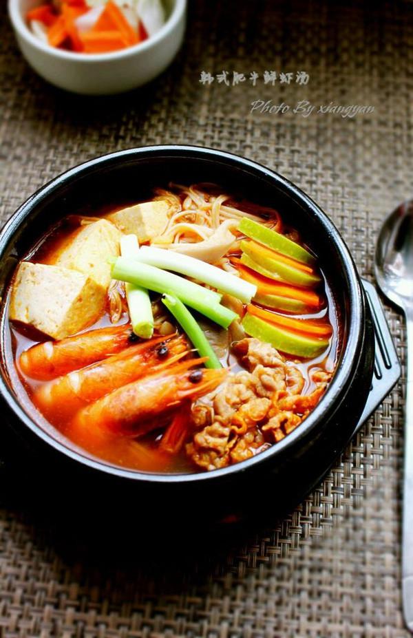 韩式肥牛鲜虾锅