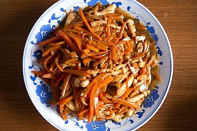 胡萝卜白玉蘑炒肉