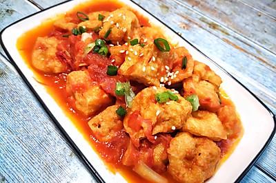 番茄焖豆腐泡,好吃低脂又开胃。