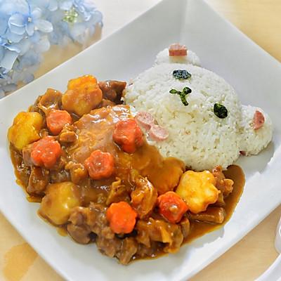 小熊泡澡咖喱牛腩饭