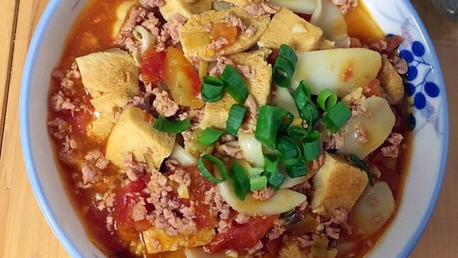蕃茄肉末年糕冻豆腐的做法