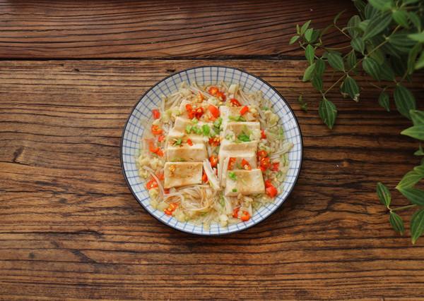 蚝油金针菇蒸豆腐的做法