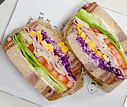 10分钟系列早餐系列之蘑菇火腿田园三明治的做法