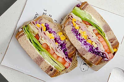 10分钟系列早餐系列之蘑菇火腿田园三明治