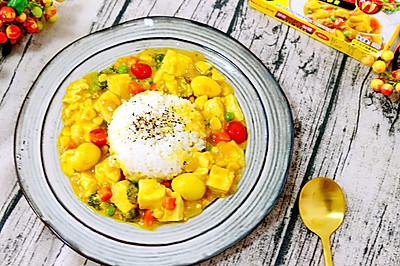 日式咖喱烩鹌鹑蛋豆腐拌饭#奇妙咖喱,拯救萌娃食欲#