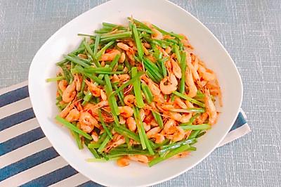 韭菜苔炒河虾