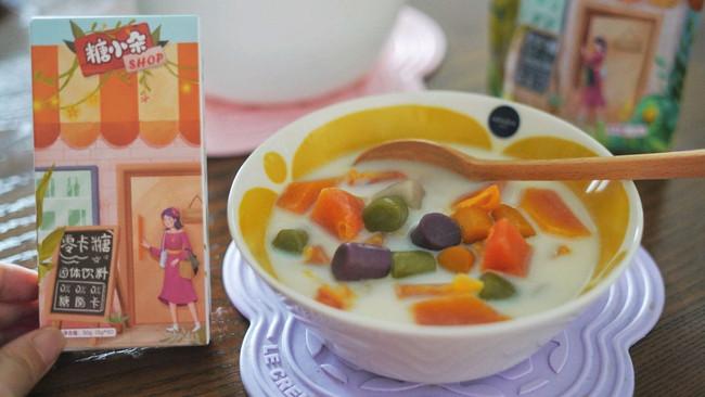 #糖小朵甜蜜控糖秘籍#木瓜芋圆牛奶糖水的做法