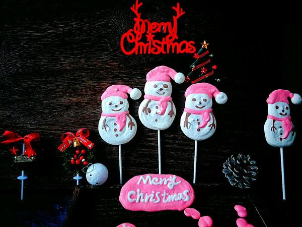 圣诞节送小朋友的礼物,雪人棒棒蛋白糖~的做法