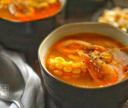 南瓜甜虾浓玉米浓汤 的做法