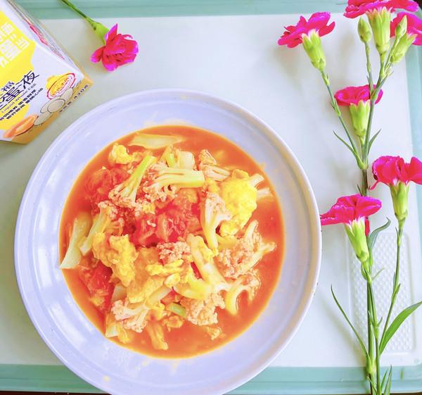 花菜番茄炒蛋液的做法