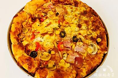料多多双层芝士鸡肉培根披萨~11寸