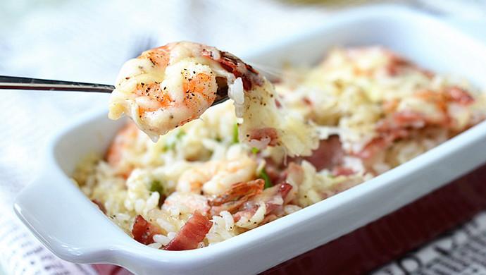 鲜虾焗饭#美的微波炉菜谱#