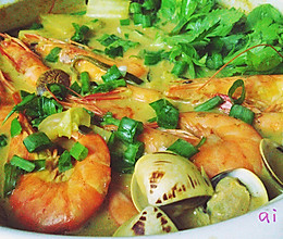 海鲜咖喱暖锅的做法