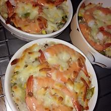鲜虾奶油芝士焗饭