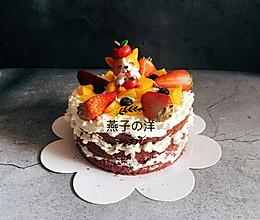 6寸红丝绒裸蛋糕 水果夹心哒~的做法