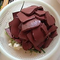 大喜大牛肉粉试用之蒜苗炒猪血的做法图解2