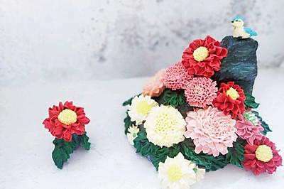 秋菊 古韵奶油裱花蛋糕#马卡龙·奶油蛋糕看过来#