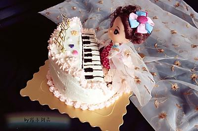 钢琴娃娃生日蛋糕裱花蛋糕#相约MOF#