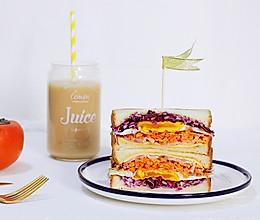 #10分钟早餐大挑战#蔬菜煎蛋三明治的做法
