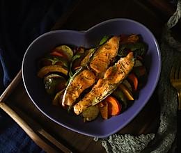 #秋天怎么吃#瘦身低脂0碳水—三文鱼烤杂蔬的做法