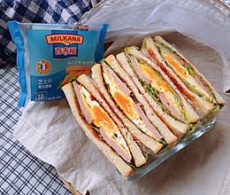 火腿芝士蛋三明治#百吉福食尚达人#的做法