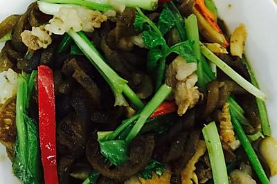 虾仁肉片炒海茸