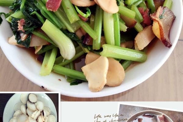 芹菜鸡腿菇炒湖南熏肉的做法