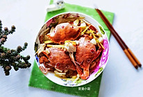 #夏天夜宵High起来!#姜蒜蒸三眼蟹的做法