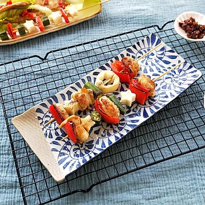 鸡肉彩蔬烤串(平底锅版)