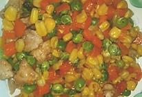 玉米豌豆炒肉丁的做法