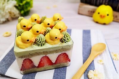 超可爱小黄鸭草莓抹茶盒子蛋糕,无敌好吃~