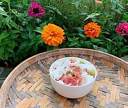 #尽享安心亲子食刻#一碗香喷喷的腊肠豌豆饭的做法