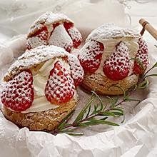 超可爱 零失败 一次就成功的草莓酥皮大泡芙