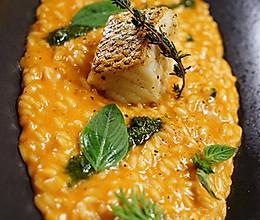 意大利烩饭配香煎鳕鱼的做法