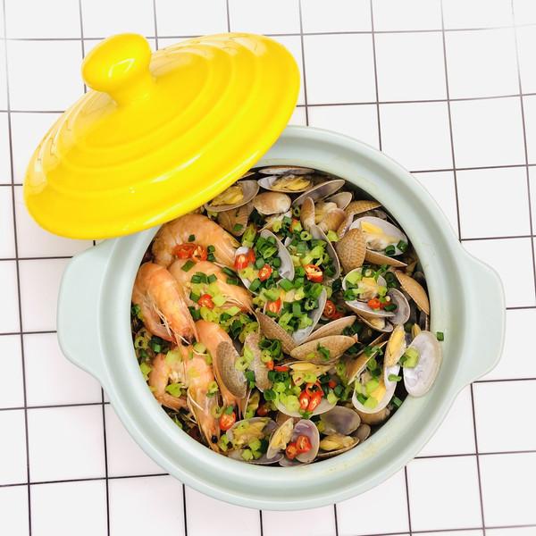 花甲鲜虾粉丝煲的做法