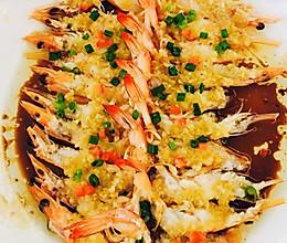 餐厅名菜家里做:金银蒜蒸开边虾的做法